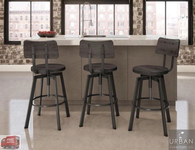 Industrial Bar Stool Vintage Metal Wood Kitchen Swivel Chair Height Adjustable Carbonloft Industrial Bar Stools Bar Stools Modern Counter Stools