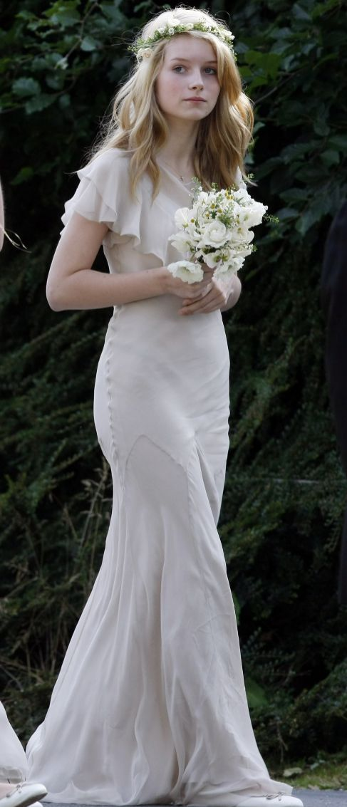 Bridesmaid dress. Lottie Moss at kate moss wedding. Blue flowers ...