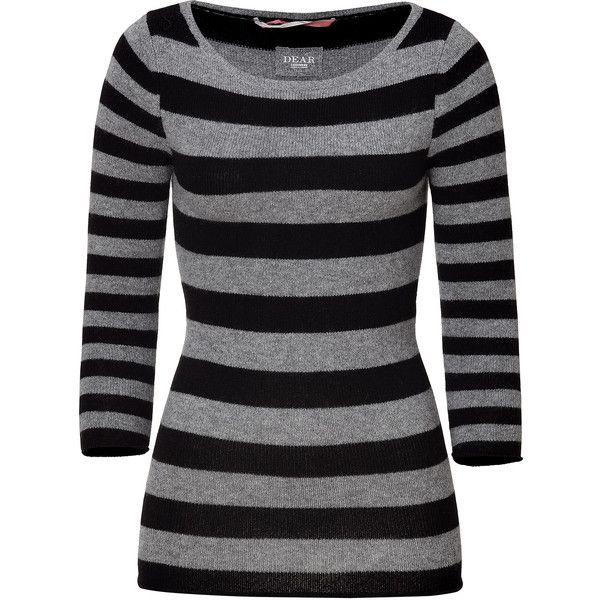 DEAR CASHMERE Black/Grey Striped 3/4 Sleeve Cashmere-Blend Carmen ...