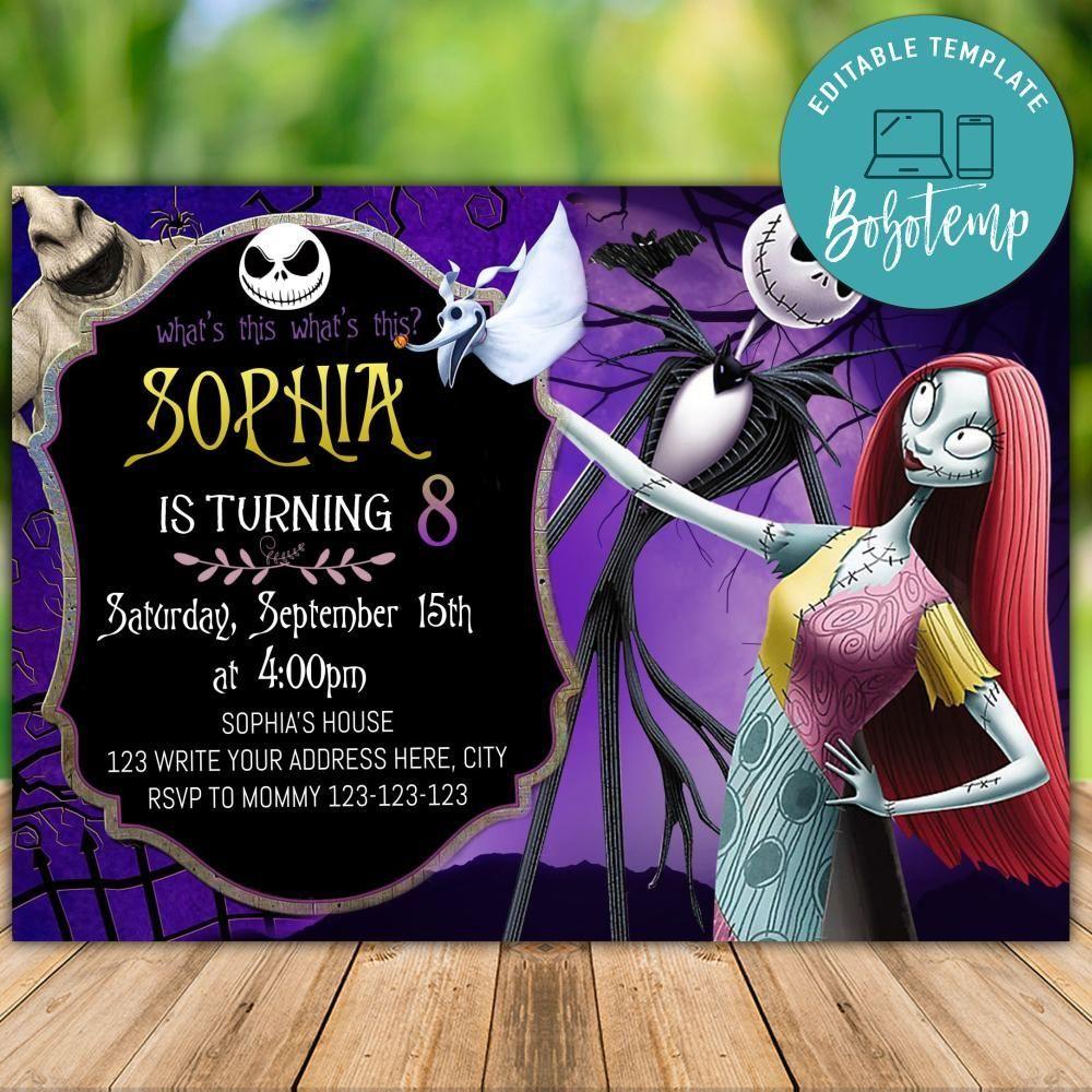 Printable Jack Skeleton Birthday Party Invitation DIY in