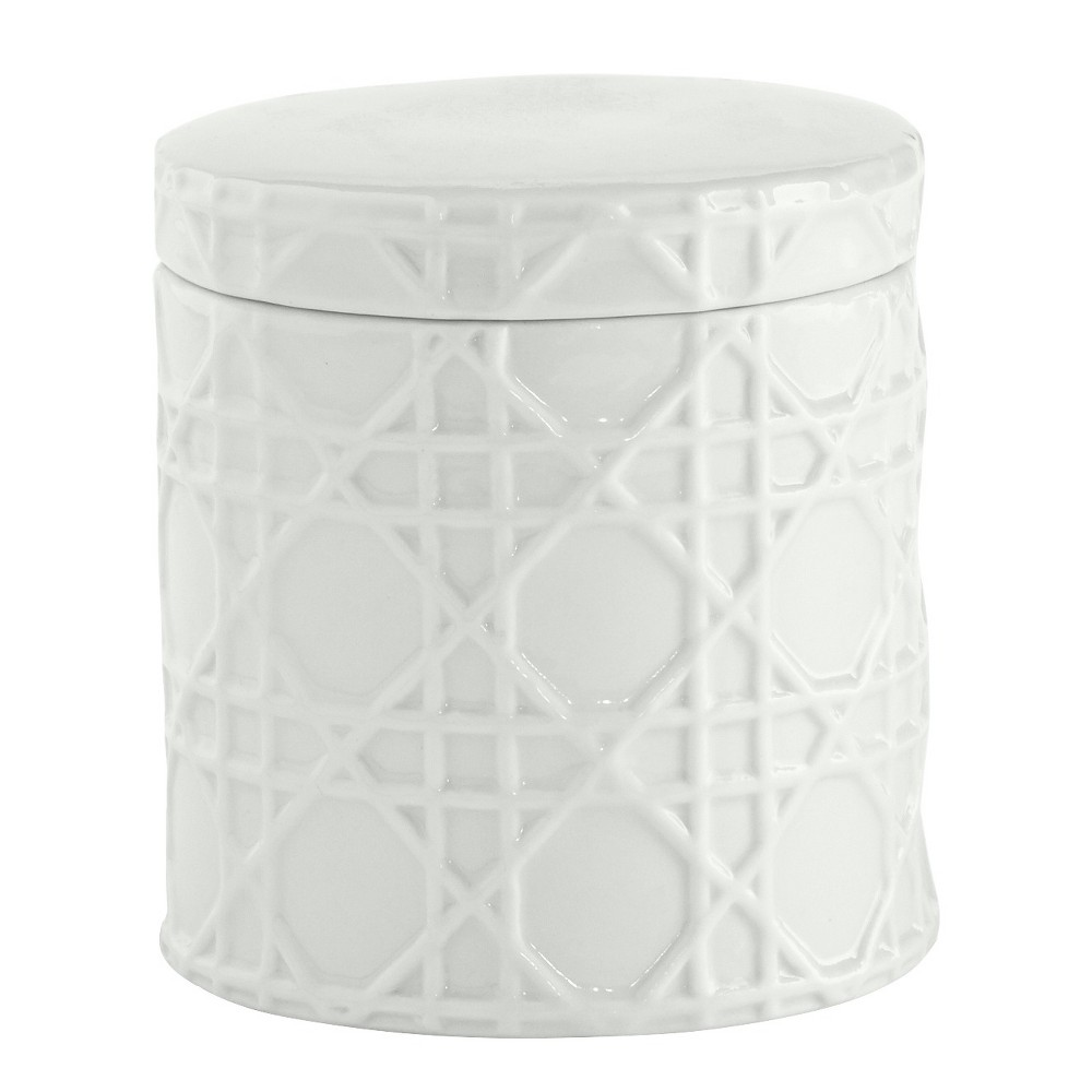 Rattan Cotton Jar White - Kassatex | Rattan and Products