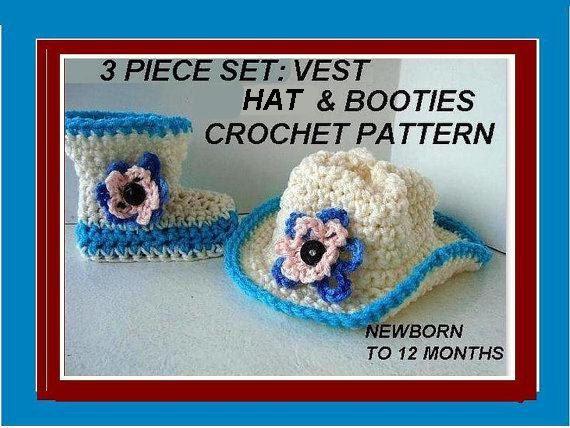 Crochet Pattern Cowboy Boots Cowboy Hat Cowboy Vest - for Baby ...