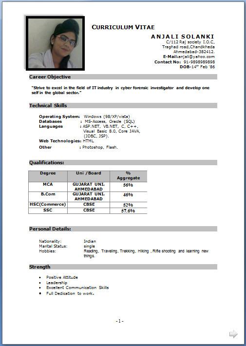 Gujarat Resume format, Job resume format, Best resume format