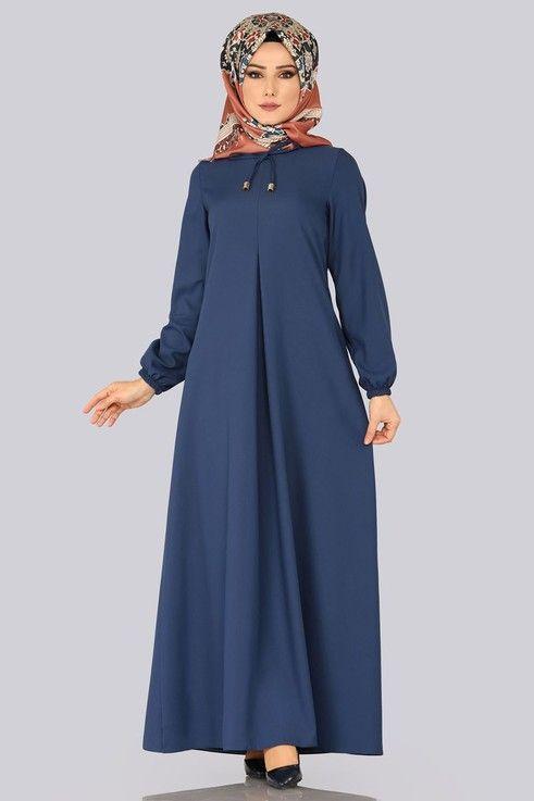 Elbise Yakasi Ipli Boydan Elbise Edf4163 Indigo Kiyafet Islami Giyim Elbise