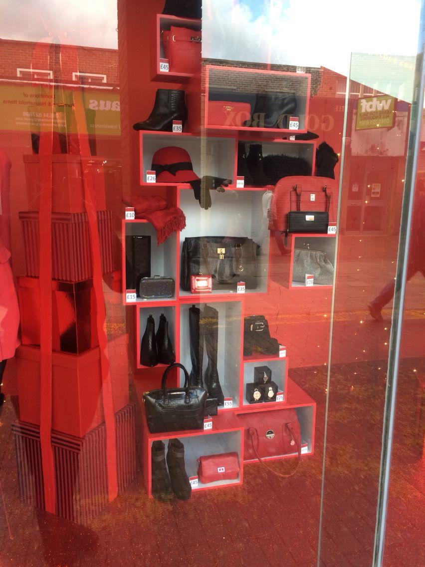 Christmas windows #AW14 #debenhams #foundit #christmas #visual #red #glitter #bows #giftboxes