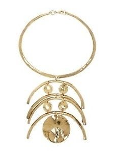 AWESOME  METAL CHOKER NECKLACE ROUND CIRCULAR GOLD TONE