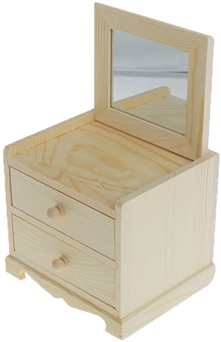 Unfinished Wooden Jewelry Box : unfinished, wooden, jewelry, Amazon.com:, Dovewill, Natural, Unfinished, Wooden, Jewelry, Small, Drawers, Chest, Glass, Mirror:, Je…, Boxes,, Mirror