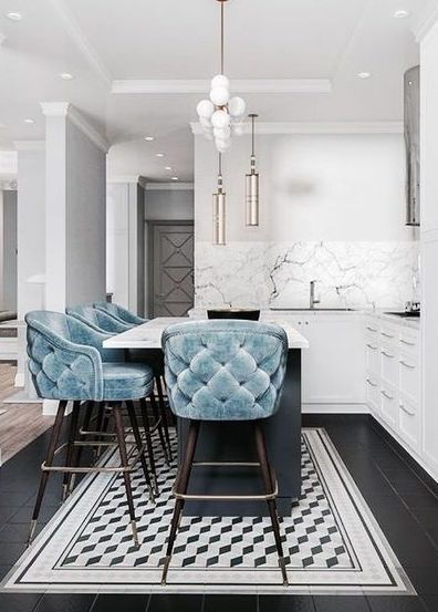Baby Blue Tufted Kitchen Bar Stools & Stunning White Marble | Add A Touch Of Luxury With Velvet Decor | Decorating Your Apartment | Decor Trends 2018 #interiordesign #homedecor #interiordecor