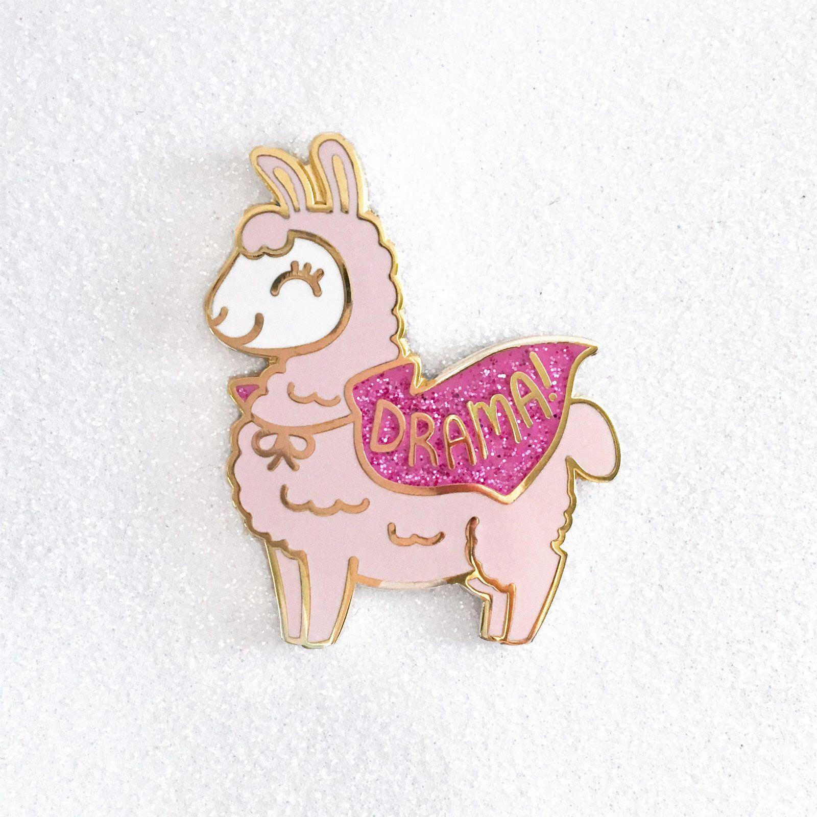 High Quality Drama Llama Hard Enamel Pin // Kawaii, Alpaca, Glitter, Funny, Pun, Animal,  Cape, Lapel Pin, Badge, Brooch, Gold, Cute, Pink, Cute