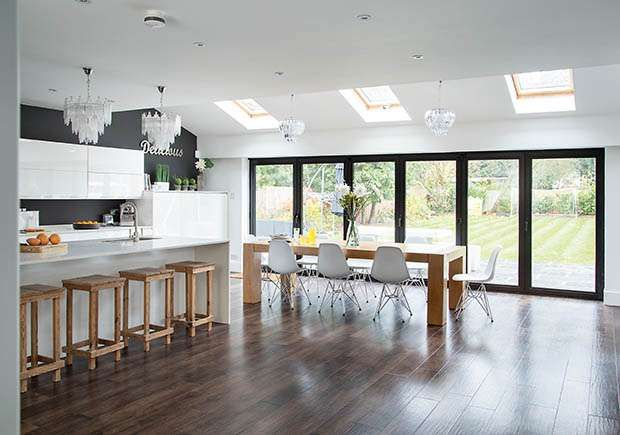Clair and simon wills extended the rear of the property to for Galley kitchen diner ideas