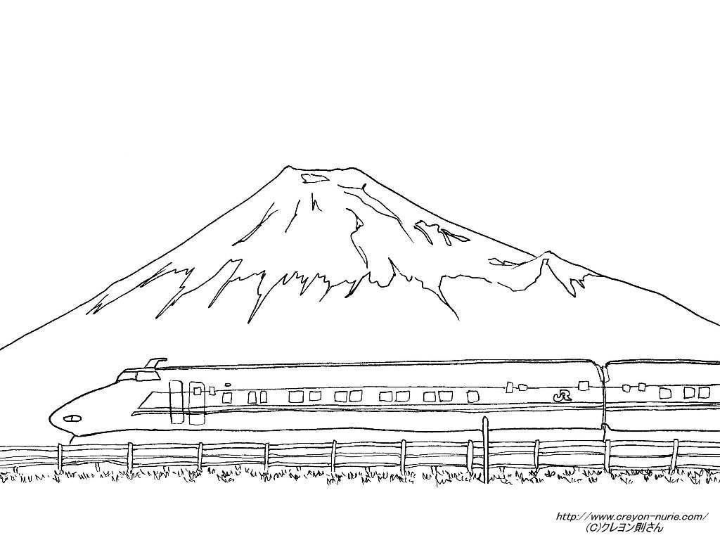 無料の印刷用ぬりえページ ほとんどのダウンロード 富士山 塗り絵 富士山 イラスト 電車 塗り絵 簡単スケッチ