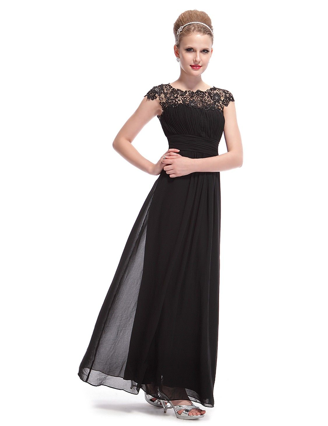 Lace Cap Sleeve Evening Gown | Cap, Gowns and Floor length dresses