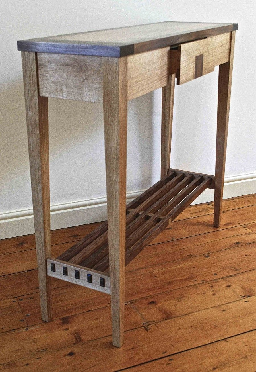 Furniture Very Narrow Rustic Diy Wood Console Table With Drawer And Shelves For Entry House