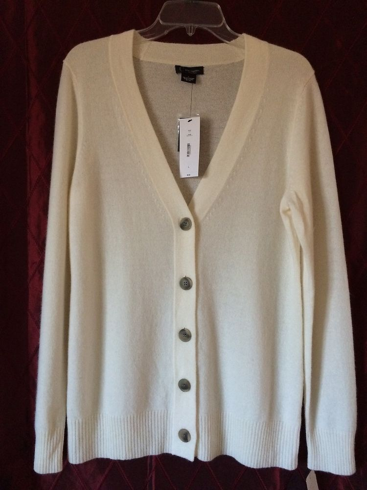 NWT C by Bloomingdale's Grandfather Cardigan Cashmere