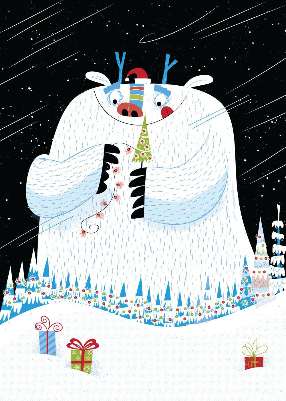 Christmas yeti greeting card by Josh Cleland | Christmas Card ...