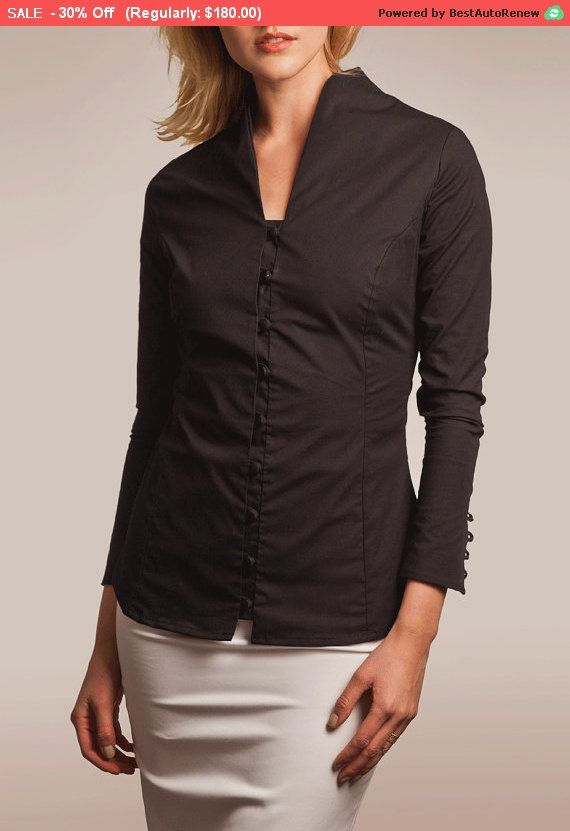 30% Sale, Black Button Down, Button Down, High Collar Blouse, High ...