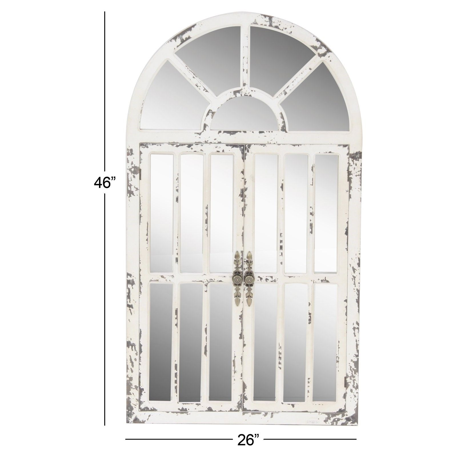 Decmode Distressed White Wooden Arched Window Wall Mirror 26w X 46h In In 2020 Window Wall Arched Windows Mirror