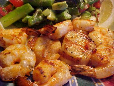 la table en fête  : Délicieuse recette de pétoncles et crevettes grill...