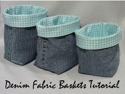 Tutorial: Denim baskets from jeans legs