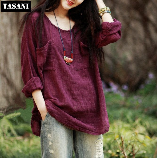 Cheap Blouses & Shirts, Buy Directly from China Suppliers:  2015 Fashion Linen Women Shirts Vintage Slim Solid Loose Long Sleeve Plus Size Blousees Tops Woman Clothing Free Shipp