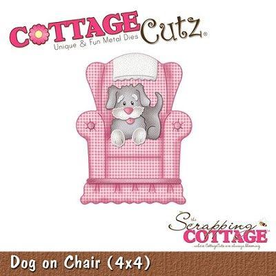 Cottage Cutz-4x4 Dies-Dog on Chair