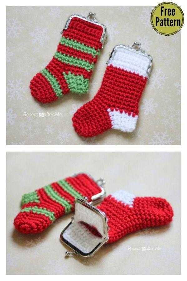 Christmas Stocking Coin Purse Free Crochet Pattern | Crochet ...