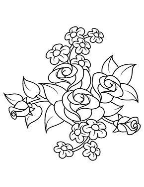 Ausmalbild Rosenbouquet Ausmalbilder Illustration Blume Ausmalen