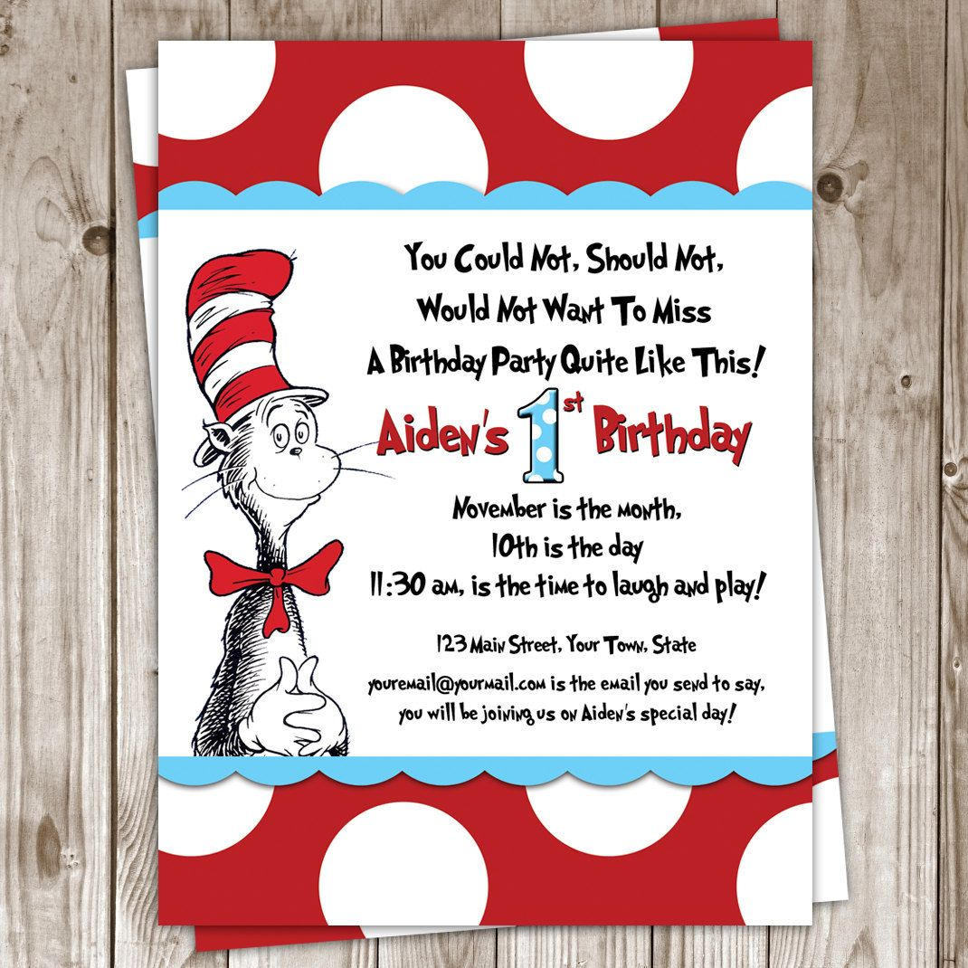 Dr. Seuss Birthday Invitation. $25.00, via Etsy. | Daniels 1St bday ...