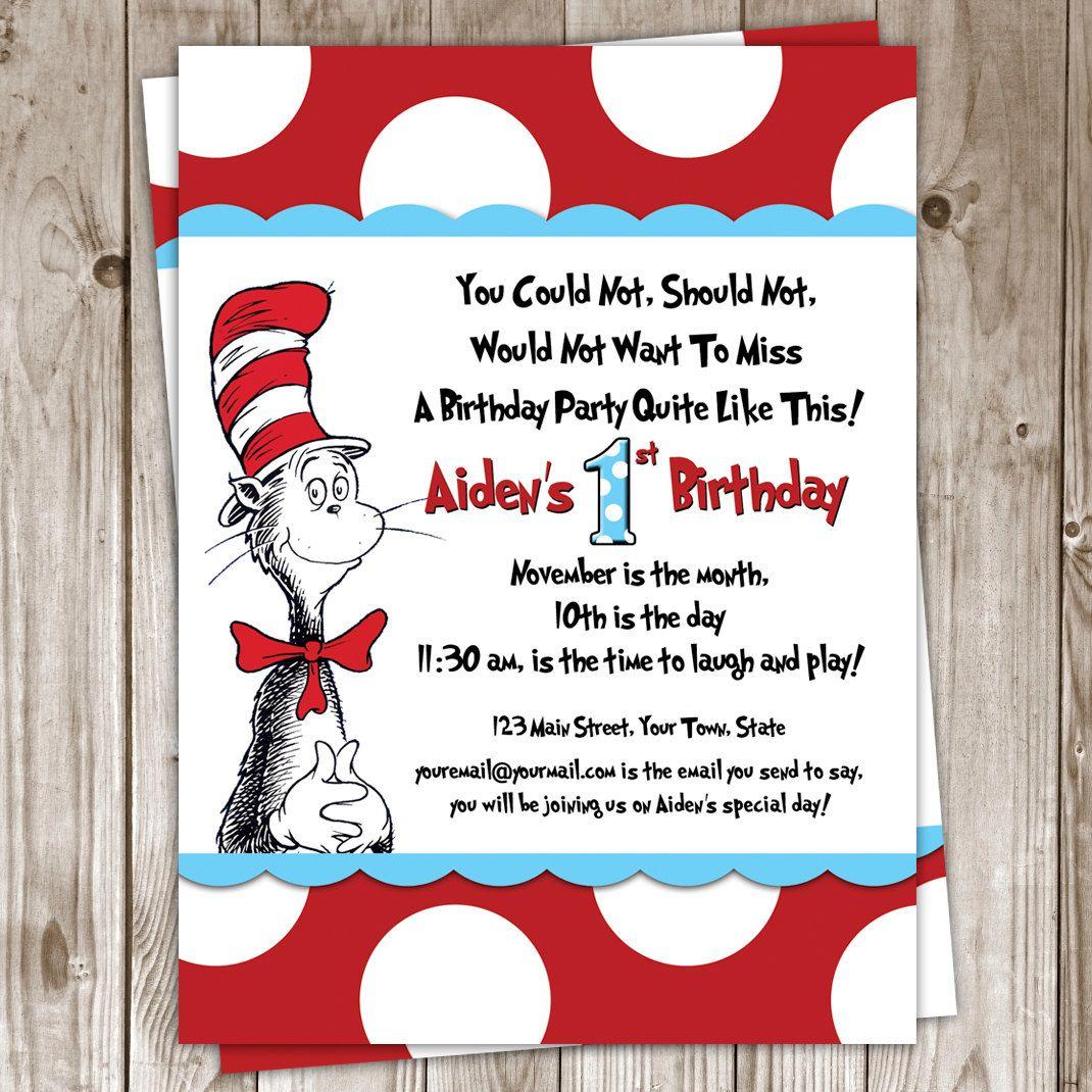 Dr Seuss Birthday Invitation 25 00 Via Etsy