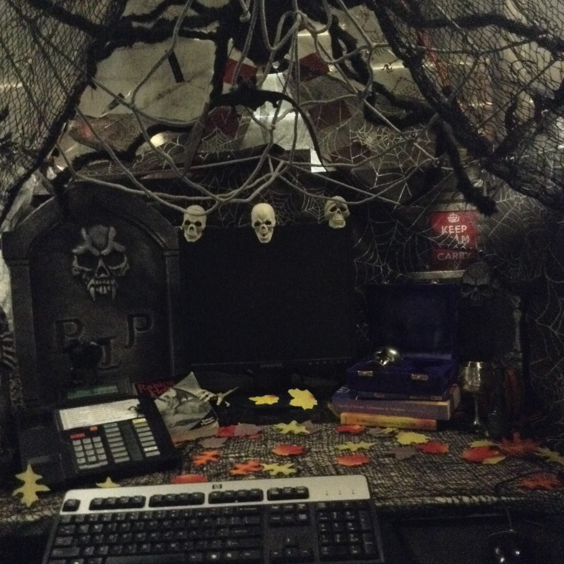 This Year S Work Pod Giant Tent And This Is The Inside My Halloween Cubicle Office Halloween Decorations Scary Halloween Decorations Halloween Cubicle