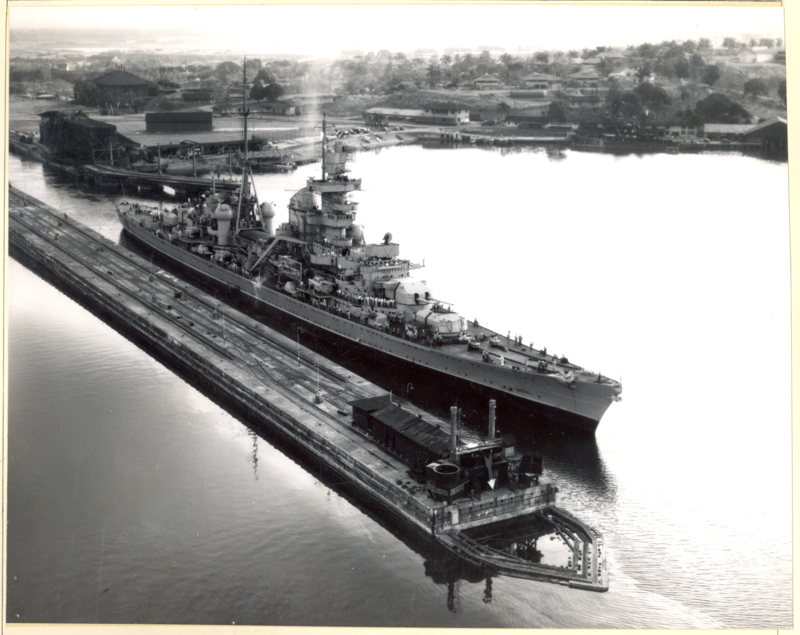 """lex-for-lexington: """" Heavy cruiser USS Prinz Eugen passing through the Panama Canal in 1946. Note the prefix """"USS"""", she was commissioned into the US Navy as an """"unclassified miscellaneous vessel"""" with hull number IX-300, after being awarded to the US..."""