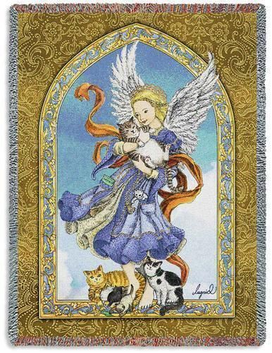 40x40 ANGEL With CATS Religious Tapestry Afghan Throw Blanket Inspiration Guardian Angel Throw Blanket