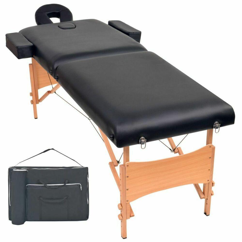 Vidaxl Table De Massage Pliable 2 Zones Noir Lit De Massage Chaise De Massage Table De Massage Table A Langer Table Pliable