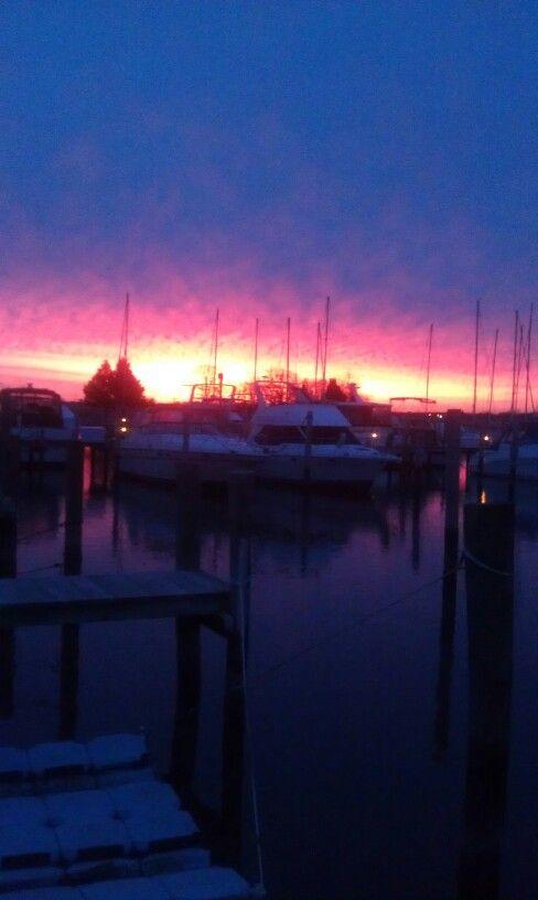 Winter sunset at the marina.