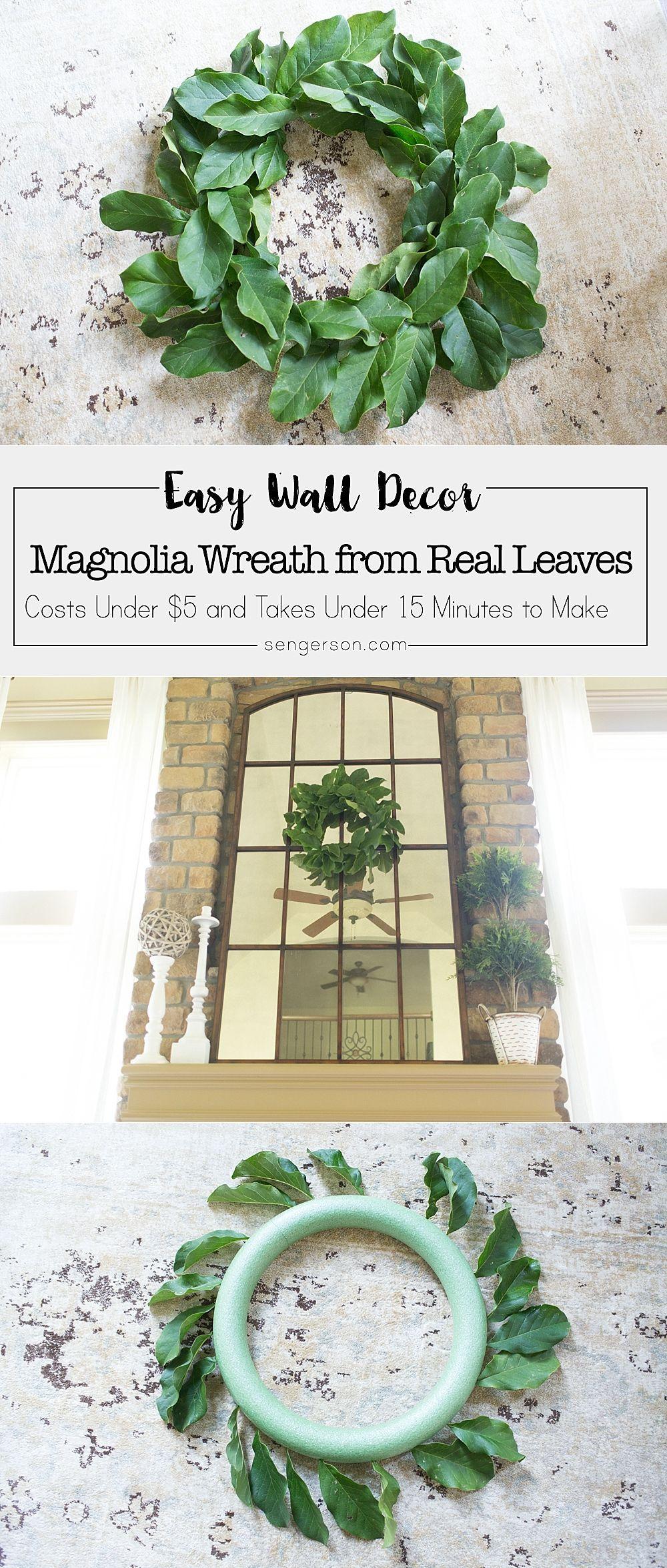 Photo of Magnolia Leaf Wreath Tutorial Simple magnolia wreath made from real magnolia leaves. I…
