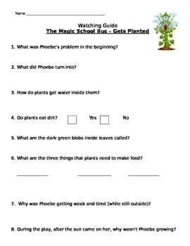 Magic School Bus Gets Planted Listening Guide How Plants Make