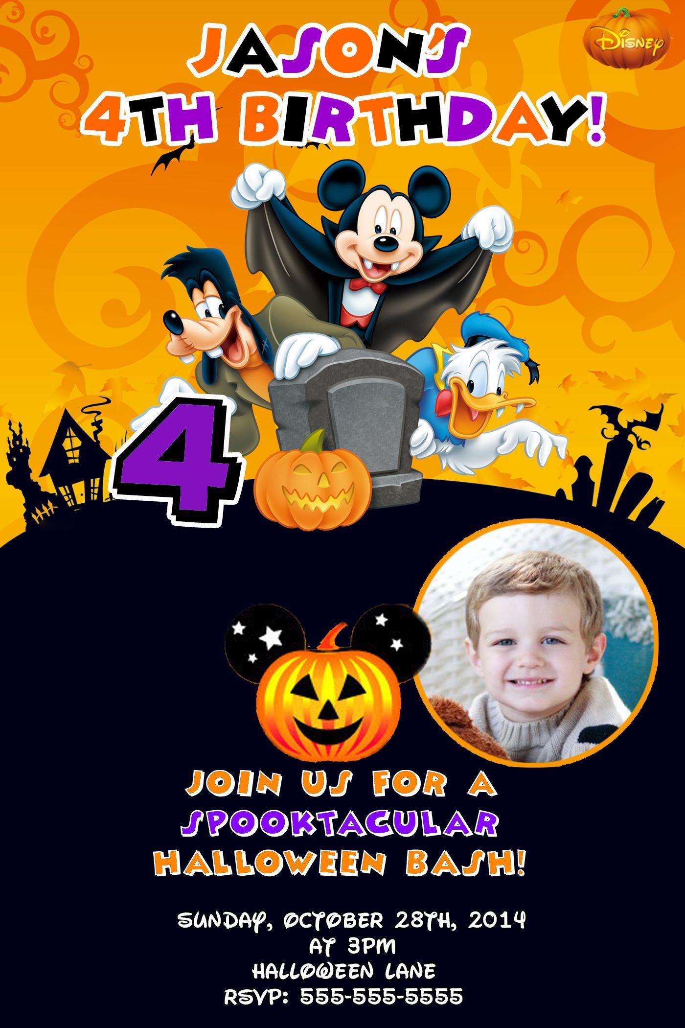 Mickey Mouse Halloween Birthday Invitations $8 99