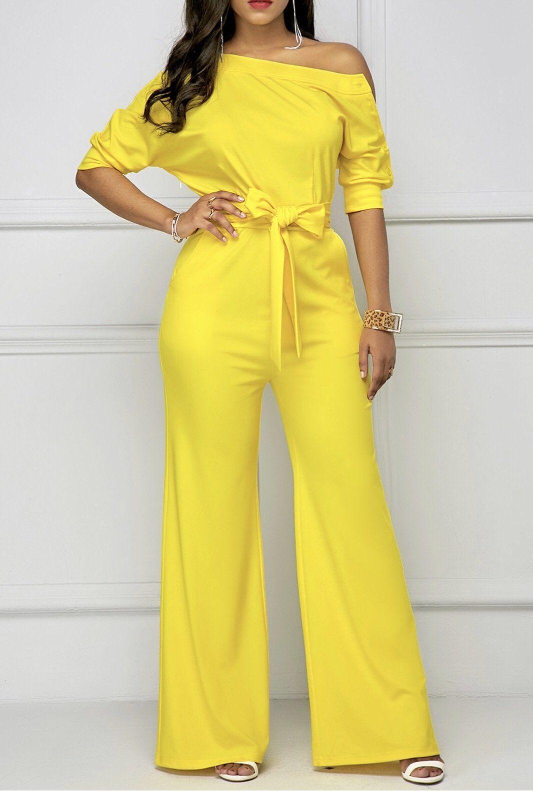 después de esto realeza creciendo  Lira - Amarillo - BdonnasImágenes efectivas que le proporcionamos sobre  elegantes desenho Una imagen de a… in 2020   Yellow jumpsuit, Half sleeve  jumpsuit, Fashion bottoms