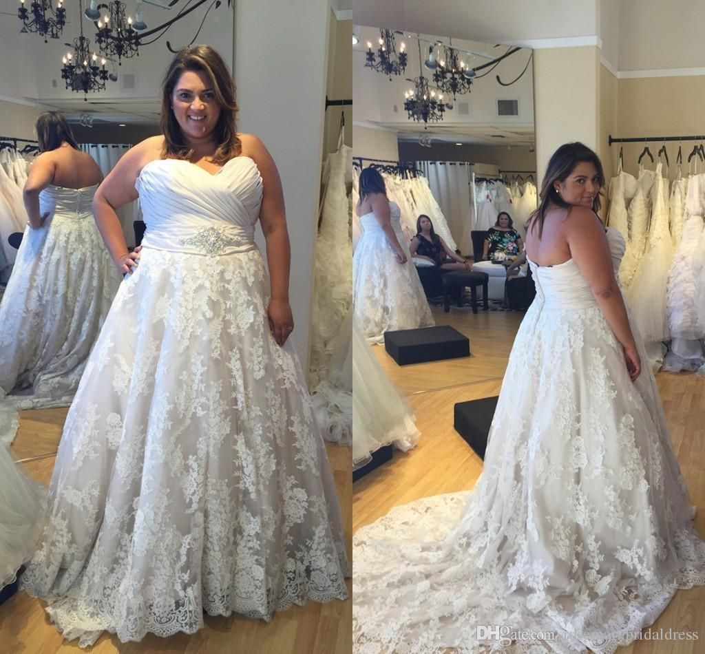 Dhgate wedding dresses plus size  New Arrival Plus Size Wedding Dresses Sweetheart Sleeveless Backless