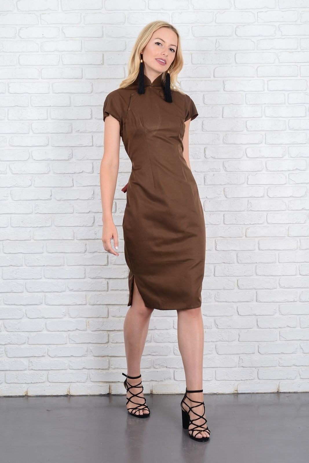 Vintage 60s Cheongsam Dress Brown Asian Oriental Party Cocktail ...