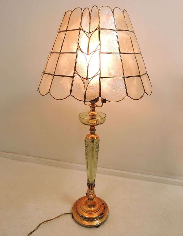 Vintage hollywood regency gilt decorated metal w etched glass table lamp