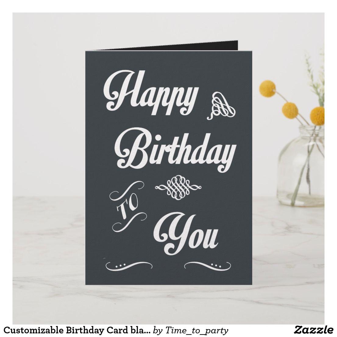 customizable birthday card black modern  zazzle