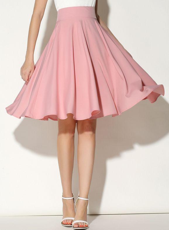 Pink High Waist Pleated Skirt Fashion Midi Skater Skirt