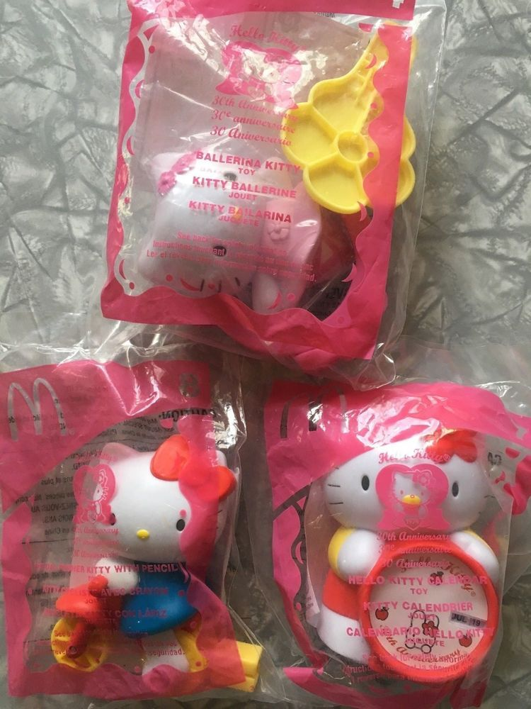 a752b8095 2004 Hello Kitty McDonalds Happy Meal Lot of 3 30th Anniversary Toys No. 4,