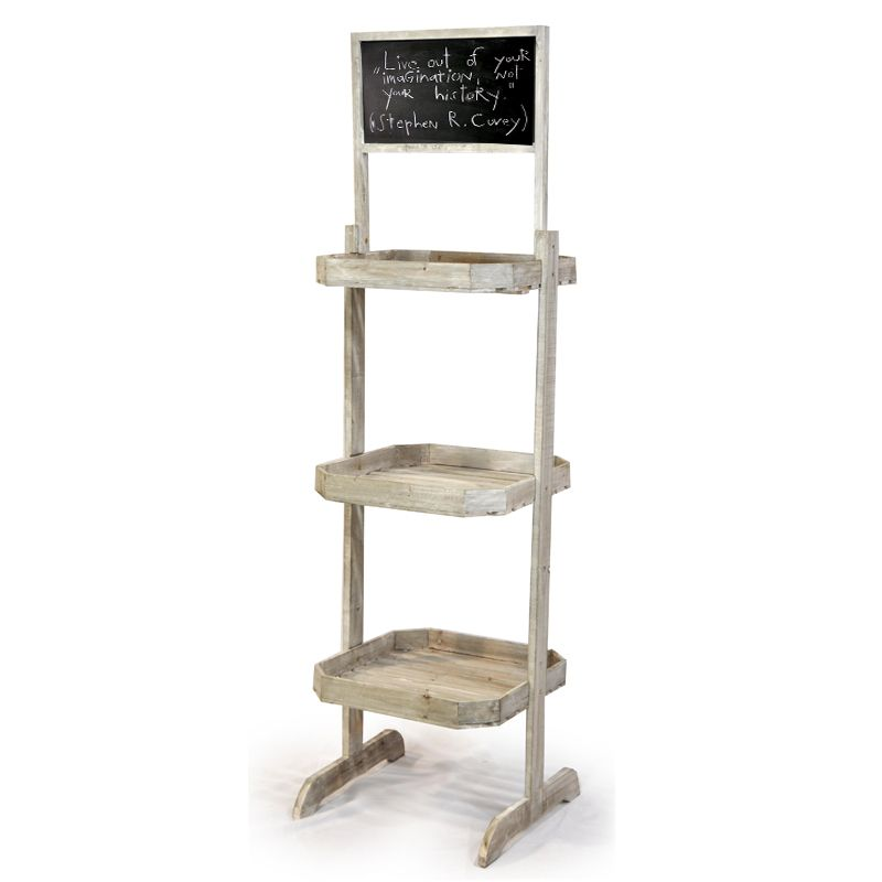wooden three shelf retail display with chalkboard booth. Black Bedroom Furniture Sets. Home Design Ideas
