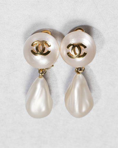 Chanel Vintage Pearl Drop Earrings