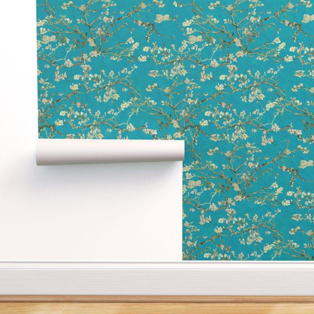 Van Gogh Almond Blossom Wallpaper Teal Blue Sage Green Etsy Van Gogh Almond Blossom Almond Blossom Peel And Stick Wallpaper