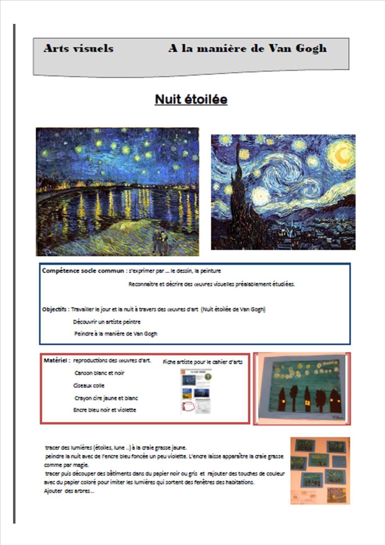 Hervorragend Nuit étoilée à la manière de Van Gogh - L'école de p'tit loup  HR72