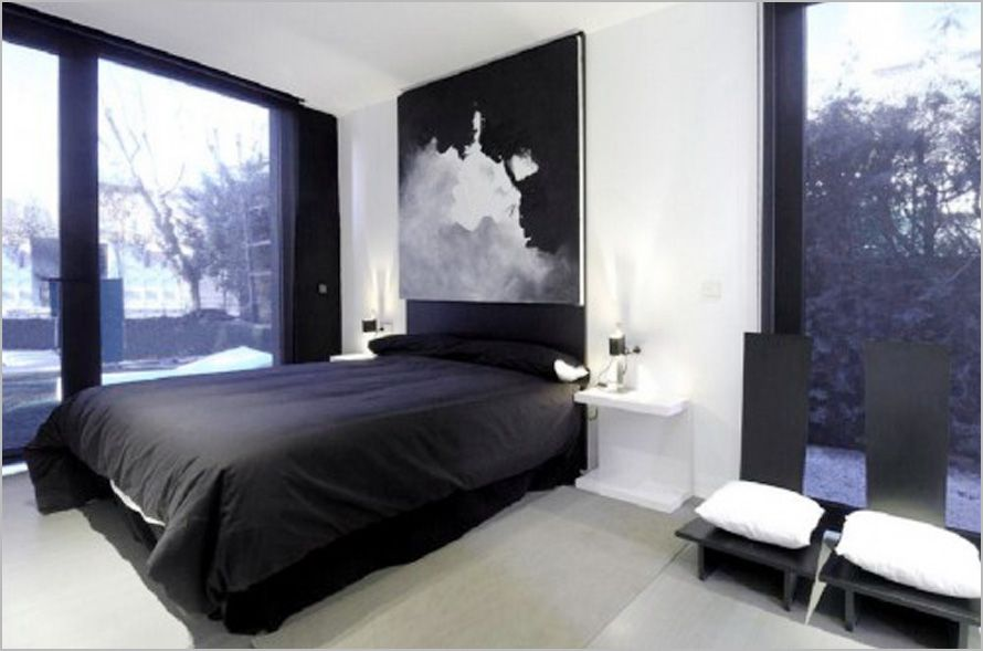 bedroom-design-ideas-for-young-men-black-and-white, photo bedroom