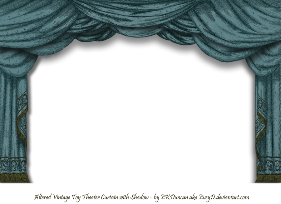 Altered Vintage Paper Toy Theater curtain in Dark Teal ...